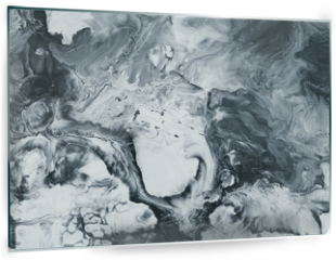 Panel szklany do kuchni - Black and white marble abstract hand painted background
