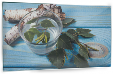 Panel szklany do kuchni - A glass of birch juice on wooden background