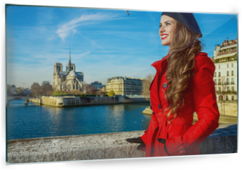 Panel szklany do kuchni - tourist woman in red trench coat in Paris, France looking aside