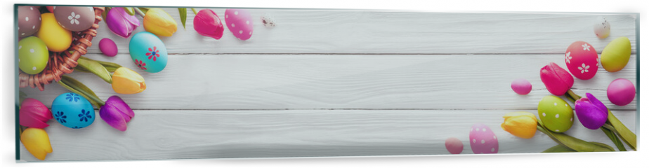 Panel szklany do kuchni - Easter Eggs with Flowers on White Wooden Background