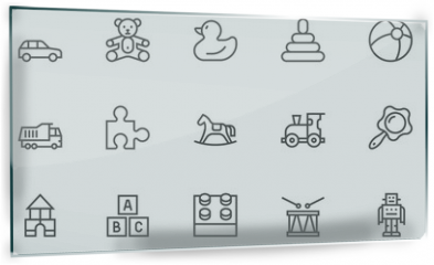 Panel szklany do kuchni - Set of Toys Vector Thin Line, Flat Design Icons with Cloud, Sun, Rain and more. Editable Stroke. 48x48 Pixel Perfect.