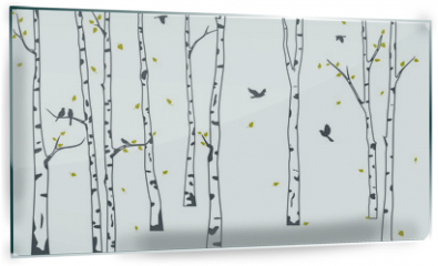Panel szklany do kuchni - Birch Tree with deer and birds Silhouette Background