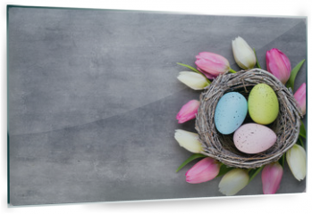 Panel szklany do kuchni - Pink tulip with pink eggs nest on a gray background. Easter greetings card.