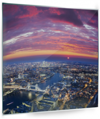 Panel szklany do kuchni - London city sunset, mystic aerial view