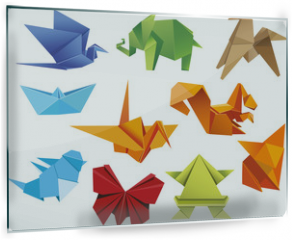 Panel szklany do kuchni - Origami. A set of origami. Set origami butterfly, crane, frog, elephant, horse, ship, sparrow, fox, squirrel. Paper set origami. Vector illustration Eps10 file