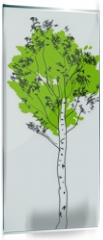 Panel szklany do kuchni - Stylized birch tree with green crown and white trunk