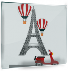 Panel szklany do kuchni - tower eiffel paris scooter and hot air balloons vector illustration