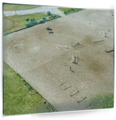 Panel szklany do kuchni - Aerial view part of the racecourse in Kiev with a horse and people. Photo from the drone