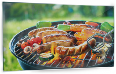 Panel szklany do kuchni - Grilled sausage on the flaming grill