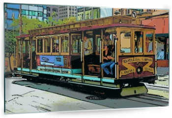 Panel szklany do kuchni - comic image of cable car in san francisco