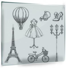 Panel szklany do kuchni - Travel to France hand drawn isolated design elements. Paris sketch vector illustration