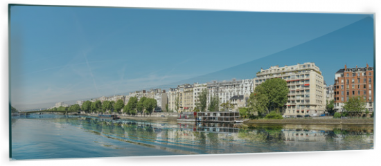 Panel szklany do kuchni - Panoramic image of Paris modern architecture in Paris with and Seine river