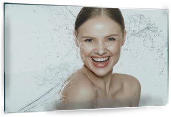 Panel szklany do kuchni - Beauty. Woman With Water On Face And Body. Spa Skin Care