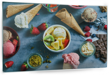 Panel szklany do kuchni - Flat lay of assorted ice cream with ingredients