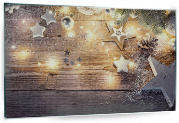 Panel szklany do kuchni - Christmas decoration in vintage style at old wooden board