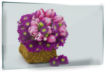 Panel szklany do kuchni - Bouquet made of tulips and chrysanthemum flowers on white background