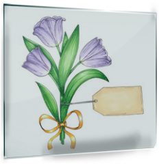 Panel szklany do kuchni - Vector illustration with a beautiful bouquet of violet tulips and a template of a card