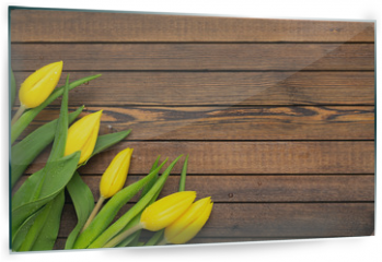 Panel szklany do kuchni - Beautiful yellow tulips on wooden background. Top view, copy space. Holidays concept. Add text