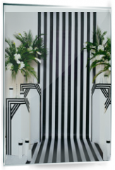 Panel szklany do kuchni - two vases with flowers on a black and white striped background