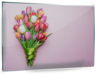 Panel szklany do kuchni - Colorful bouquet of tulips on white background.