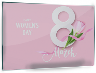 Panel szklany do kuchni - Happy Womens Day. 8March design template. Decorative number with pink ribbon and tulip flowers isolated on pink background. Vector illustration