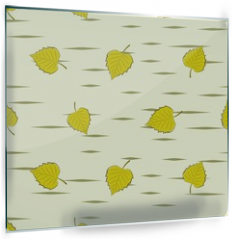 Panel szklany do kuchni - Seamless background with birch leaves.