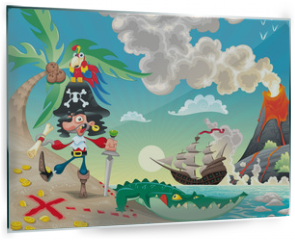 Panel szklany do kuchni - Pirate on the isle. Funny cartoon and vector scene.