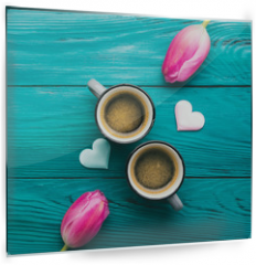 Panel szklany do kuchni - Two coffee cups, hearts and flowers. Valentine day
