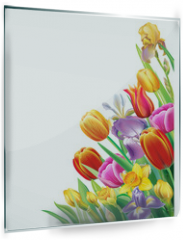 Panel szklany do kuchni - Arrangement with multicolor spring flowers over white background