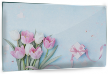 Panel szklany do kuchni - Tulip flowers and gift box for Women day, Mother day background. Flat lay.