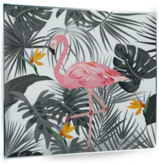 Panel szklany do kuchni - Tropical vector seamless pattern with flamingo.