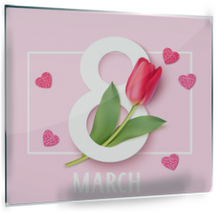 Panel szklany do kuchni - Womens Day 8 March design template. Decorative number eight with eed tulips. Vector illustration