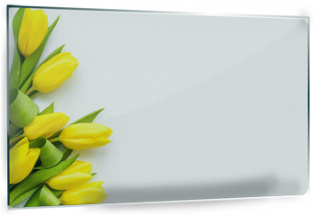 Panel szklany do kuchni - Spring composition. Delicate yellow tulips on white background top view space for text border