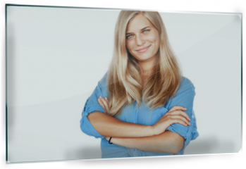 Panel szklany do kuchni - Young beautiful girl woman blond with long hair and blue eyes in a blue shirt isolated white background