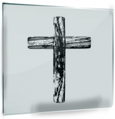 Panel szklany do kuchni - Wooden cross on a white background