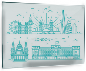 Panel szklany do kuchni - Linear banner of London city