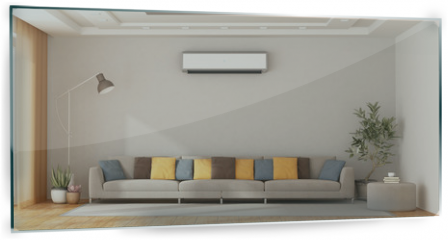 Panel szklany do kuchni - Modern living room with sofa and air conditioner