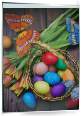Panel szklany do kuchni - Easter background with tulips and painted eggs