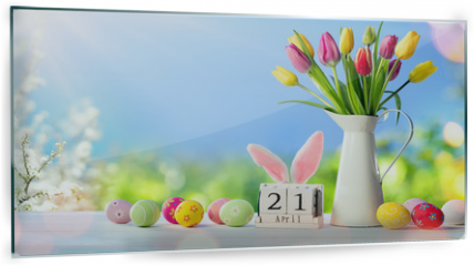 Panel szklany do kuchni - Easter - Calendar Date With Decorated Eggs And Tulips In Sunny Garden
