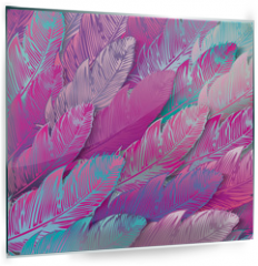 Panel szklany do kuchni - Seamless background of iridescent pink feathers, close up