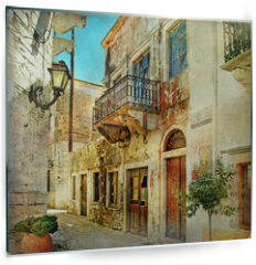 Panel szklany do kuchni - pictorial old streets of Greece