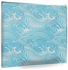 Panel szklany do kuchni - Japanese seamless waves pattern in ocean colors