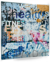 Panel szklany do kuchni - FITNESS. Word Grunge collage on background.