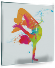 Panel szklany do kuchni - The dancing boy with colorful spots and splashes. Vector