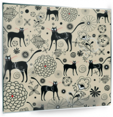 Panel szklany do kuchni - Flower texture with cats