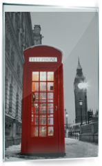 Panel szklany do kuchni - London Telephone Booth and Big Ben