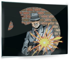 Panel szklany do kuchni - Comic book drawing of a gangster with a tommygun
