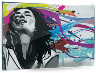 Panel szklany do kuchni - Girl with colour splash background vector