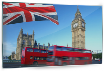 Panel szklany do kuchni - Big Ben with city bus and flag of England, London