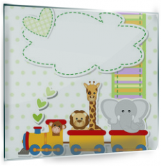 Panel szklany do kuchni - baby shower - train - trenino con animali